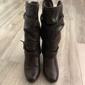 Nine West Size 7M Brown Slouchy Man Made Boots